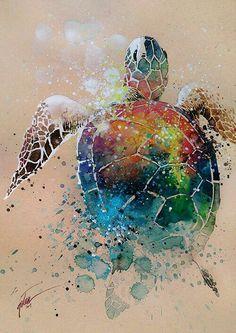 Watercolour and gouache turtle