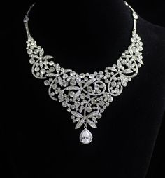Swarovski Crystal  Bridal Bib Necklace,  Statement Wedding Necklace, , Wedding Jewelry, Crystal Bridal Necklace, PENNY