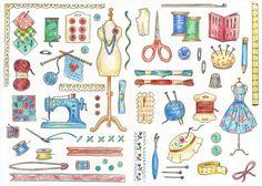 Sewing motifs sketch for a cross stitch design in my 'Cross Stitch Samplers Book'.