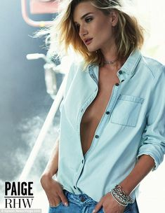 Rosie Huntington Whiteley is the face of Paige Denim for second season and, while a model modelling in a campaign doesn't usually engage us for long, these pictures made us put down the Mint Aero we were eating and stare shamelessly. Rosie Huntington Whiteley, Paige Denim, Ad Fashion, Editorial Fashion, Denim Fashion, Blue Denim Shirt, Looks Style, Mannequins, Plymouth