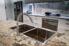 Traditional kitchen. Window splashback. Granite benchtop. Top mount sink. www.thekitchendesigncentre.com.au