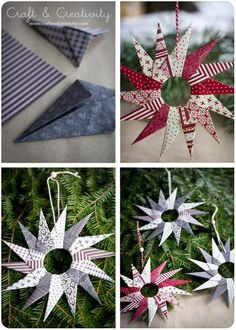 Homemade Christmas decorations ... paper stars. DIY homemade Christmas decorations for the home this festive season. Easy and cheap ideas for kids to make and for you to craft. #Christmas #ChristmasIdeas #ChristmasDecorations #ChristmasCrafts #ChristmasDe
