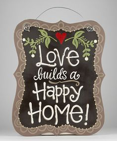 This 'Love Builds a Happy Home' Initial Sign by Glory Haus is perfect! Diy Signs, Wall Signs, College Walls, Color Me Mine, Homemade Signs, Home Board, Jingle All The Way, Christian Gifts, Cool Walls