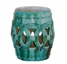 Our Club garden stool is great in your indoor or outdoor space with a glossy glaze in a terquoise blue it works well just about anywhere. Available in 2 sizes