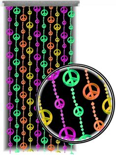 Beaded Curtains - Black Light Reactive Neon Peace Sign Door Beads