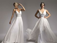 Grecian Wedding Dress on left...If ever we should renew our vows!