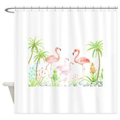 Watercolor Flamingo Family and Plam Shower Curtain on CafePress.com