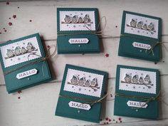 Kreativ am Deich : kleine Teebeutel-Heftchen in pfauengrün.... Goodies, Cover, Books, Peacocks, Book Folding, Crafting, Ideas, Sweet Like Candy, Livros