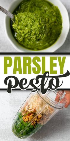 You won t believe how easy it s to make this PARSLEY PESTO 5 simple ingredients parsley garlic walnuts parmesan and olive oil Perfect for dips pasta dressings bruschetta flatbread and so many other dishes Easy Summer Meals, Quick Easy Meals, Summer Recipes, Parsley Pesto, Basil Pesto, White Sauce Pasta, 5 Minute Meals, Vegan Recipes, Cooking Recipes