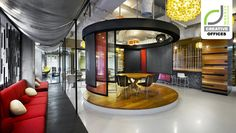 CREATIVE OFFICES! Ogilvy & Mather office by M Moser Associates, Jakarta . Though the office has standard features, M Moser Associates provided a large, fun, and open meeting space near the cafe that can be used for dining, collaborating, and talking. The space also accommodates larger town-hall style meetings – and has a slide of course.
