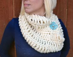 The Northerner crochet infinity scarf winter cowl by ValkinThreads, $97.00  #cowl #infinityscarf #warm #chunky #white #accessories #fashion #apparel #clothing #scarf