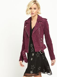 River Island Suedette Biker Jacket Bringing a burst of colour to your winter wardrobe, we love this oxblood biker jacket by River Island. The suedette fabric adds a luxe textured appeal to your off-duty wear, while the biker style and exposed zip details maintain the edge and attitude of the original.Wear this jacket over your party wardrobe with metallic heels for a cool, of-the-moment look.Washing Instructions: Machine Washable