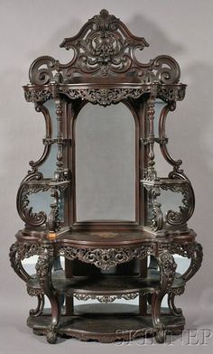 Vintage Furniture Victorian Rococo Revival Carved Rosewood Etagere With Serpentine Frame Carved In High Relief With Roses An C-Scrolls, Mirrored Back, Possibly Alexander Roux - New York Victorian Furniture, Victorian Decor, Gothic Home Decor, Unique Furniture, Rustic Furniture, Vintage Furniture, Furniture Decor, Outdoor Furniture, Geek Furniture