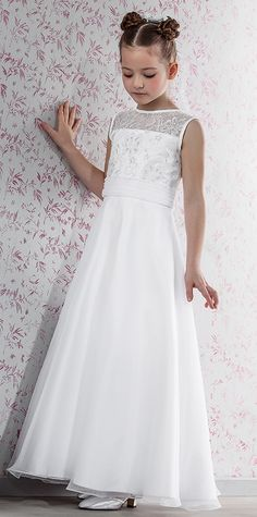 Modern Day Vintage First Communion Dress - Emmerling 70146 - New 2015 - Emmerling Communion Dress 70143 - Age 7 8 9 10 11 - Communion dress - Girls Communion Dresses, Girls Dresses, Flower Girl Dresses, Catholic Communion, First Holy Communion, Confirmation Dresses, Maid Dress, Lovely Dresses, Dress Collection