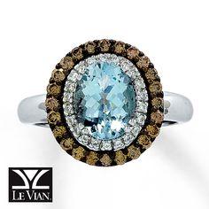 Jared - Le Vian Aquamarine Ring 1/2 ct tw Diamonds 14K Vanilla Gold