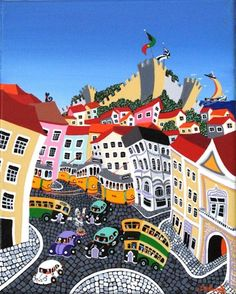 awaken in every color of your Portuguese soul. Cuba, Lisbon Tram, City Illustration, Portugal Travel, Naive Art, Map Art, Pictures To Draw, Illustrations, Travel Posters