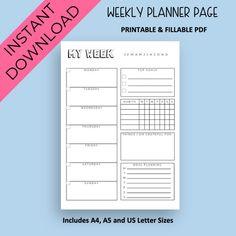Weekly Planner Template, Weekly Meal Planner, Planner Inserts, Planner Pages, Printable Planner, Printables, Weekly Schedule, Weekly Calendar, Perfect Planner