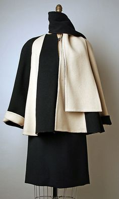 Pauline Trigere Ensemble in Black and White Wool 1983