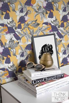 Leaf and Toucan Wallpaper Tropical Removable by ThinkNoirWallpaper