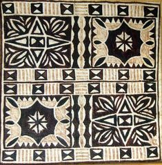 This is closer to the true color scheme of your typical tapa, although more arists are starting to utilize a mixture of shades, which you can see in the one there on the right. By James Paul Kneubuhl Hawaiian Tribal, Hawaiian Art, Hawaiian Tattoo, Hawaiian Decor, Polynesian Designs, Polynesian Art, Tribal Patterns, Textile Patterns, African Patterns
