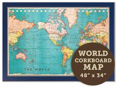 cork board world map driftwood frame