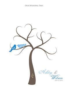 """J&R- """"hearts in a tree""""...would look cute with a little nest holding 3 little birds and an egg or two! ;)  Maybe do fall colored birds and the leaves could be fall colored that float to the ground with their wedding date written on them..."""