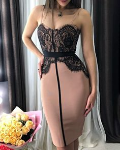 Spaghetti Strap Eyelash Lace Midi DressYou can find Lace and more on our website. Couture Fashion, Girl Fashion, Fashion Looks, Fashion Outfits, Dress Fashion, Lace Midi Dress, Belted Dress, Jumper Dress, Stunning Dresses
