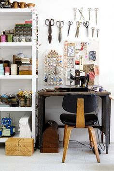 little blue deer: Eclectic X. Great sewing workroom.