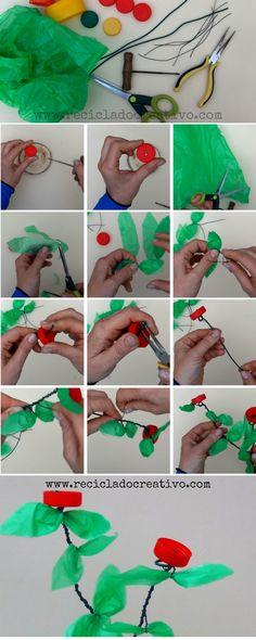 Flores de colores hechas con tapones de botellas y bolsas de plástico Recycle Plastic Bottles, Recycling, Diy, Flowers, Vases, Do It Yourself, Plastic Flowers, Colorful Flowers, Plastic Bags