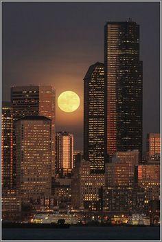 ~~Full Moon • West Seattle scene: First full moon of 2014 looking across Elliott Bay, Washington • by David Hutchinson~~