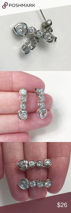 Sterling Silver heart earrings Sterling silver heart Earrings marked 925. Matching necklace listed separately. Jewelry Earrings