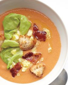 """""""This SPICY no-cook chilled soup is made for times when you have a bonanza of ripe tomatoes on hand. The toppings really make it a meal. I like to add a few leaves of tender butterhead lettuce, crumbled crispy bacon, and toasty croutons made from a loaf of country-style bread.""""  -- Andrea Reusing, chef-owner, Lantern restaurant, Chapel Hill, North Carolina"""