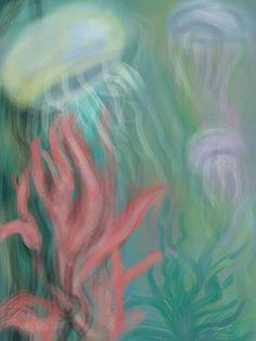 Title:  Jellyfish   Artist:  Christine Fournier   Medium:  Digital Art - Digital Painting Ipad With Finger Touch Brush Using Artstudio