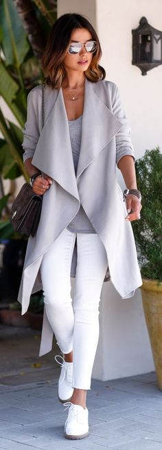 White And Grey Styling by Vivaluxury. #AllSaints trech coat.
