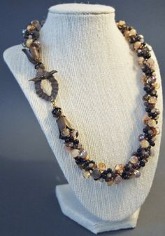 Earth Tone Kumihimo Necklace Antique Brass by JasmineTeaDesigns, $295.00