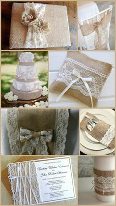 Burlap and Lace from David Tutera @ jd, you know how you were talking about the various themes we are playing with? This is a good one for the bridal shower. @ Andrea, goes with the tea party theme and it looks easy to DYI Chic Wedding, Wedding Trends, Wedding Blog, Rustic Wedding, Our Wedding, Dream Wedding, Wedding Burlap, Wedding Reception, Lace Wedding