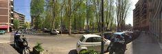 Mailand. Eine Piazza mit Pappeln: die schönere Straßenkreuzung.
