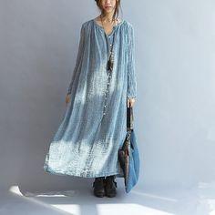 Casual loose linen women maxi dress long sleeve or short sleeve - Tkdress - 1