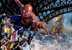 Webs of Money | Hilarious Celebrity Paintings in Humoristic Situations by Tos Kostermans.