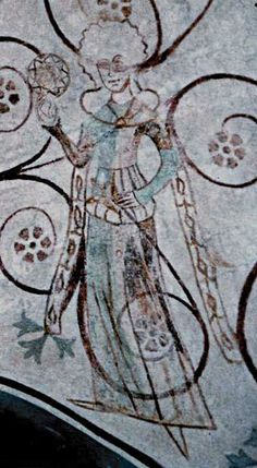 Denmark, church painting, circa 1375. Particoloured cotehardie and kruseler headdress