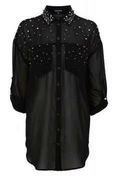 Schwarze Bluse mit Nieten von Warehouse