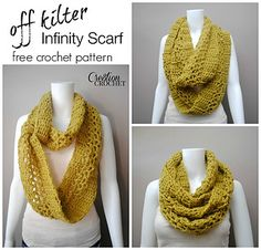 This light weight and lofty infinity scarf works up super-fast. The Off Kilter Infinity Scarf has great visual appeal with its punch of off centered lacy stitches. Get that mohair look with Jiffy yarn by Lion Brand.