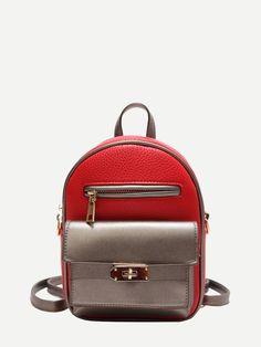 eed64bfe26ab Twist Lock Detail Backpack -SheIn(Sheinside) Backpack Bags