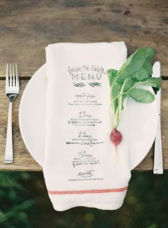 menu printed on a napkin