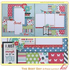 The Best Day Scrapbook Layout Kit, complete with instructions, by PaisleysandPolkaDots.com for a limited time featured at www.scrapclubs.com