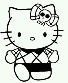 hello kitty wearing a skull tape