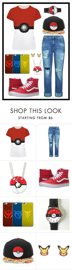 """338: Pokemon"" by alinepelle ❤ liked on Polyvore featuring 7 For All Mankind, Vans and Valor"