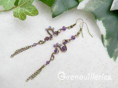 Pour réaliser ces belles boucles d'oreille, j'ai utilisé :  - des perles facettées d'améthyste et améthyste mauve, - de nombreux fils de cuivre de couleur bronze, enrobés  - 16191176