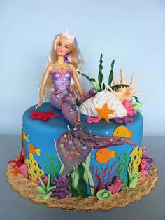 This is a cute idea for a mermaid cake.  Would like to have the mermaid made from modeling paste.