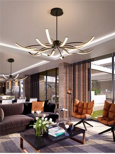 led technology These modern contemporary ceiling lights wiil add style and elegance to any room. Theyre available in white or black and with 10 or 12 arms. The lights are made of Modern Led Ceiling Lights, Led Ceiling Lamp, Modern Lighting, Chandelier In Living Room, Chandelier Pendant Lights, Living Room Lighting, Modern Chandelier, Cute Living Room, Modern Contemporary